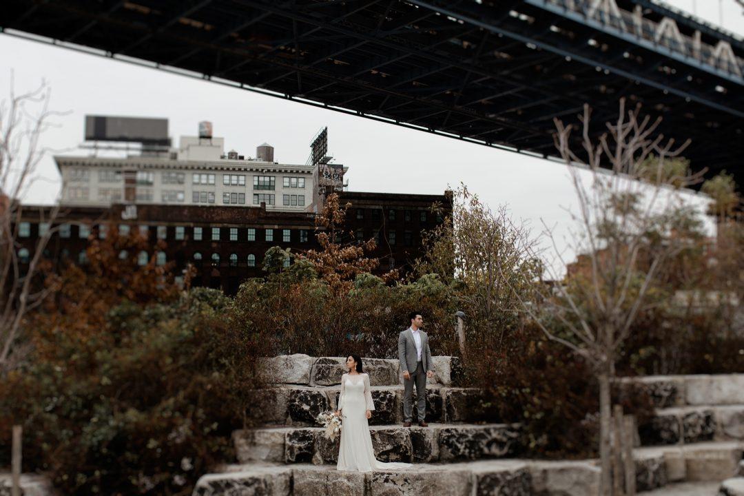 A creative elopement under the Manhattan Bridge in DUMBO New York