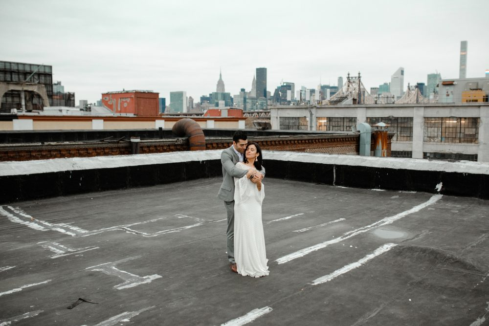 A romantic rooftop elopment in Long Island City New York