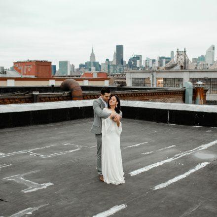 A romantic rooftop elopment in Long Island City New York